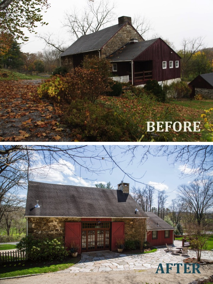 1573 Camp Linden Rd Barn before and after