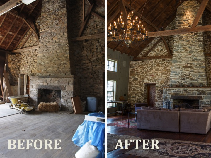 1573 Camp Linden Rd Fireplace before and after