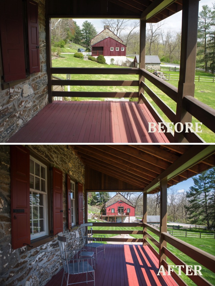 1573 Camp Linden Rd Porch view before and after